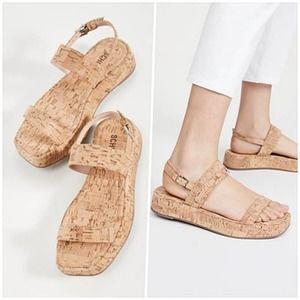 [Schutz] Heliona Cork Square Toe Platform Sandals